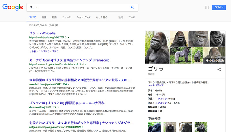 「ゴリラ」の検索結果を見せるラファエロ
