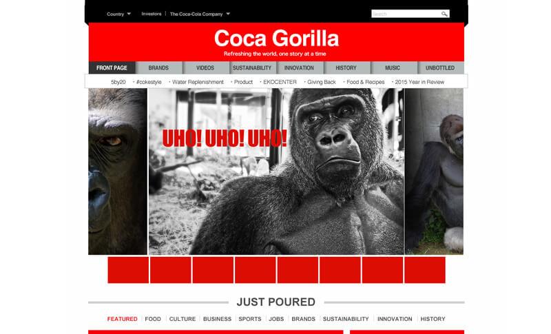 大手飲料メーカーWebサイトのパロディ
