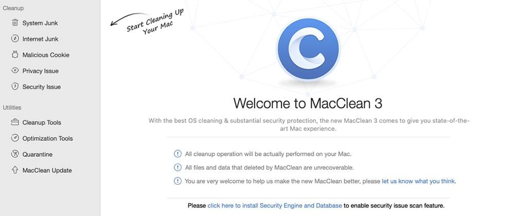 インストールが完了したらMacCleanが起動