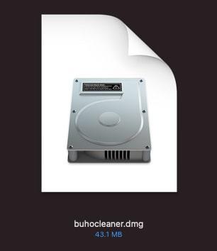ダウンロードしたファイルの「buhocleaner.dmg」をクリック
