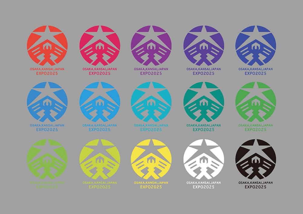ラファエロが考えた大阪・関西万博ロゴ カラーバリエーション